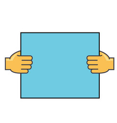 Hands holding paper concept line icon vector