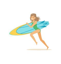 happy girl running on the beach with surfboard vector image