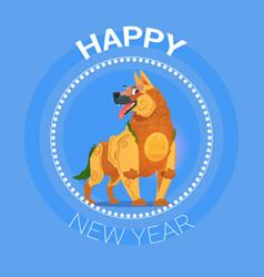 happy new year dog icon asian calendar concept vector image