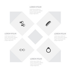 icon accessories set of spectacles wedding vector image vector image