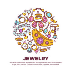 jewelry items collection in round shape on white vector image