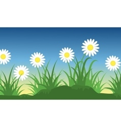 Lined flower at spring landscape vector