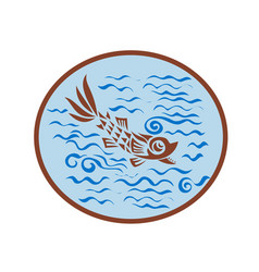 medieval fish swimming oval retro vector image vector image
