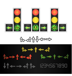 road traffic light realistic led panel vector image vector image