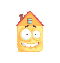 Scared house cartoon character showing bared teeth vector
