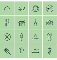 Set of 16 restaurant icons includes check in vector