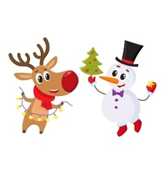 Snowman holding christmas tree and reindeer with a vector