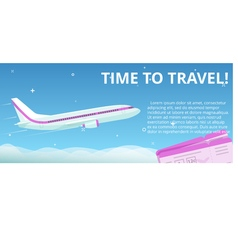 Time to travel Flat plane flies in the night sky vector image vector image