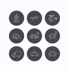 Transportation icons Car ship and truck signs vector image vector image
