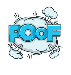 Visualization of poof sound with big fluffy cloud vector