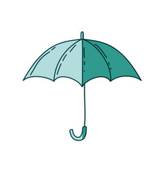 Watercolor silhouette of umbrella on aquamarine vector