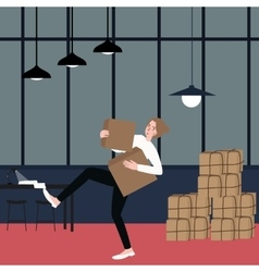 Woman almost fall holding bring cardboard box with vector