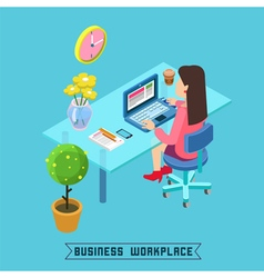 Workplace Isometric Office Businesswoman at Work vector image vector image