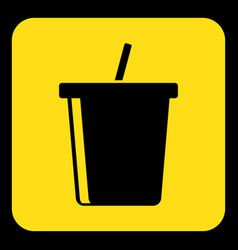 Yellow black sign - cold drink with straw icon vector