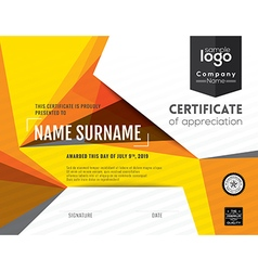 Modern certificate with polygonal background vector