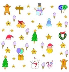 Cute christmas set of doodle art vector image