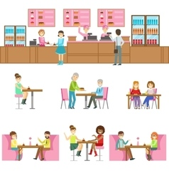 People in sweet bakery cafe set of vector