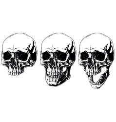 Scary graphic human skull with black eyes set vector