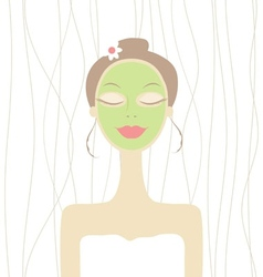 Pretty woman with cosmetic mask on face vector