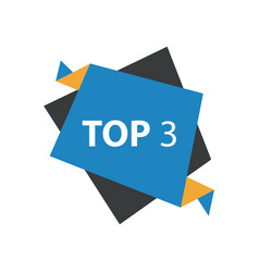 Top3 text in label blue yellow black vector