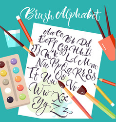 paper sheet with hand drawn alphabet vector image