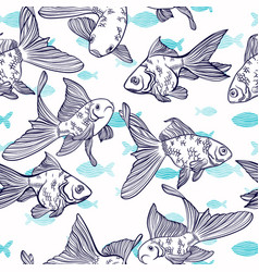 Seamless pattern with image of a fishes vector