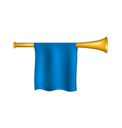 Trumpet with blue flag vector