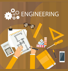 Engineering desk view from desk top hand drawing vector