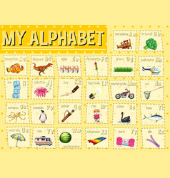 Alphabet chart with letters and words vector