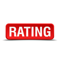Rating red 3d square button isolated on white vector
