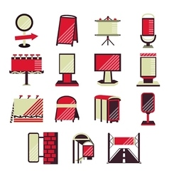 Red flat icons for outdoor advertising vector