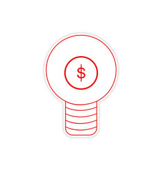 Stylish sticker on paper bulb and money vector