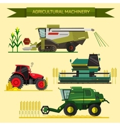 Set of agricultural vehicles and farm vector