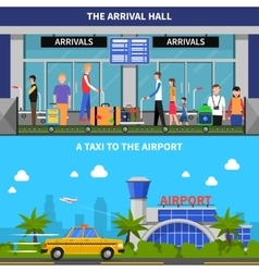 Traveling By Plane Banners Set vector image