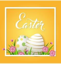 Easter card with eggs and pink flowers vector