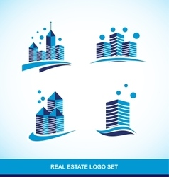 Real estate blue building skyscraper logo vector