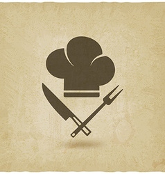 chef hat cooking symbols old background vector image