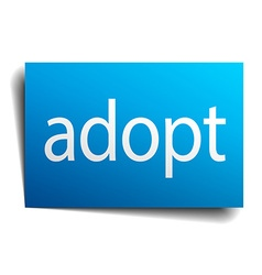 Adopt blue square isolated paper sign on white vector