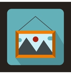 Picture in a frame on the wall icon flat style vector