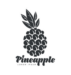black and white assymmetric graphic pineapple logo vector image