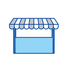 Blue contour of store icon vector