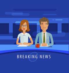 breaking news anchorman on tv broadcast vector image vector image