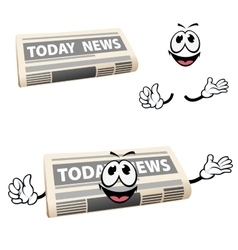 Cartoon news newspaper icon with hands vector image