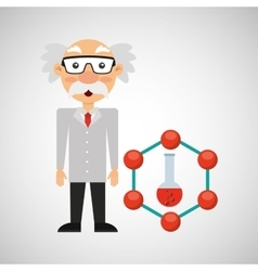 character man scientist test tube design vector image