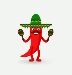 chili pepper with maracas in sombrero vector image