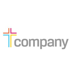 Colour cross logo for church vector