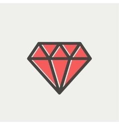 Dazzling diamond thin line icon vector image vector image
