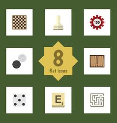 Flat icon play set of mahjong labyrinth pawn and vector