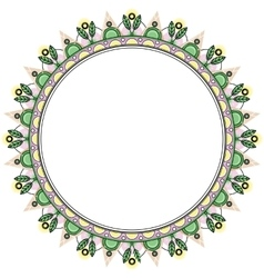 Floral wreath in zentangle style Circle frame vector image vector image