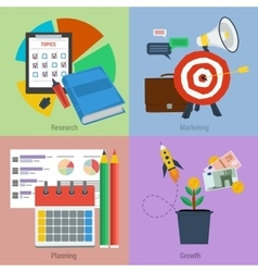 Four business concepts research marketing planning vector image